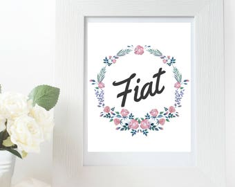 Fiat Virgin Mary Printable Art Quote Floral Wreath Catholic Art Home Decor Gift Blessed Mother Mary Mother Of God