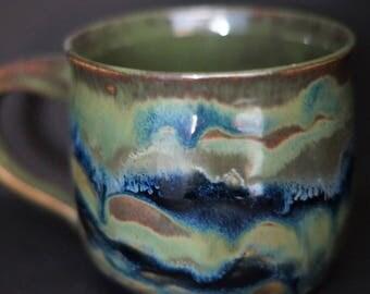 Coffee Mug - Tea cup - Hand Thrown Ceramic Mug - green mug - blue mug - Stoneware Mug - Wheel Thrown - Handmade Mug - Pottery Mug