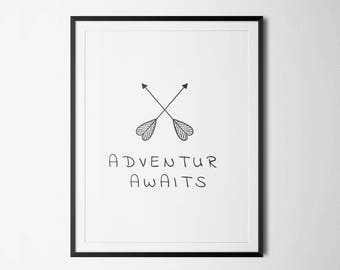 Adventure Awaits Wall Art, Digital Printable Art, Inspirational Quote, Typography Art, Adventure poster, Wall Art Prints, Digital Download
