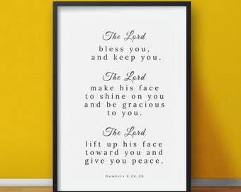 Scripture Prints, the lord bless yo and keep you, christian scripture wall art print, bible verse prints, easy instant download
