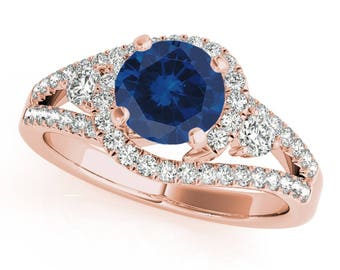 1.65 Ct. Halo Sapphire And Diamond Engagement  Ring In 14k Gold