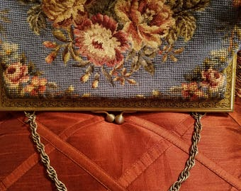 Vintage cross stitch handbag oversized in light blue with floral design.Free shipping!