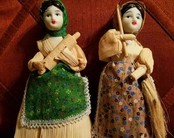 2 corn husk dolls with porcelain face.Free shipping!.