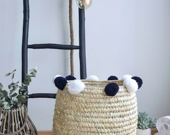 XL woven basket with PomPoms