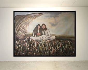 Authentic, One-of-a-kind, over-sized canvas paintings, title, On the Wing of Love, John & Yoko