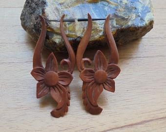 Wood Stick Post Earrings, Flower Wood Earrings, Wooden Accessories, Bali Jewelry, SP 02