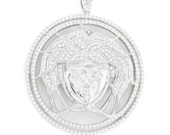 Mens Solid .925 Silver Medusa Versace 3.2ct Lab Diamond Pendant ICY