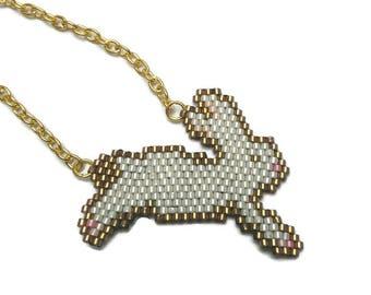 White Rabbit black Miyuki 11/0 peyote stitch necklace.