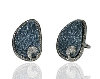 Diamond Ring with Druzy