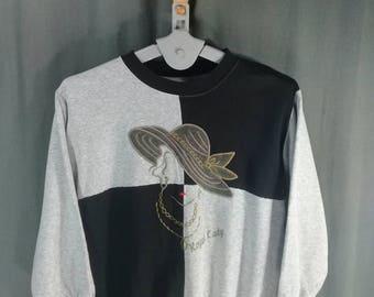 Vintage Royal Lady Sweatshirt Big Logo Embroidered Shirts Gray Black Colourblock Crewneck Nike Sweatshirts Supreme Sweatshirts Band Shirts