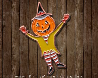 Enamel Mr Pumpkin Halloween Pin Badge - by Kris Miners