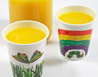 12 The Very Hungry Caterpillar Party Cups, Paper Cups, 1st Birthday, Hungry Caterpillar Birthday, Christening, Butterfly, Rainbow