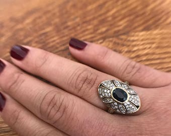 Vintage Sapphire Ring | Sapphire Engagement Ring | Diamond Filigree 18K Gold Engagement Ring
