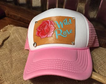 Wild rose leather patch trucker hat