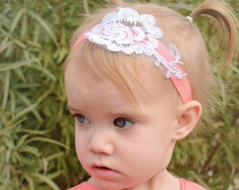 Coral and White Lace Headband