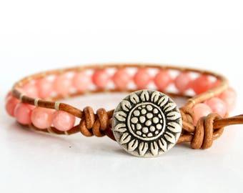 Pink Beaded Leather Wrap Bracelet, Boho Wrap Bracelet, Wrap Bracelet Leather, Sunflower Beaded Wrap Bracelet, Leather Bracelet Bead