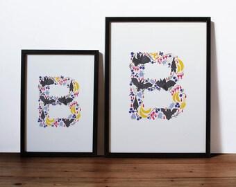 Letter 'B' Art Print, Signed Initial Illustration