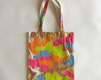 Hand painted neon woodland camo eco bag (M)