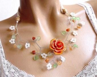 Beaded orange flower branch necklace