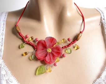 Geranium Flower necklace red jewelry