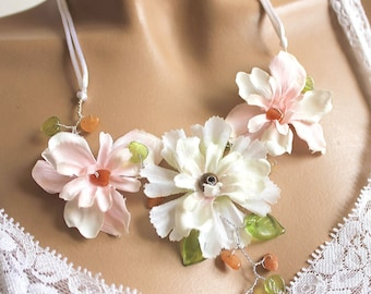Floral spring summer delphinium necklace