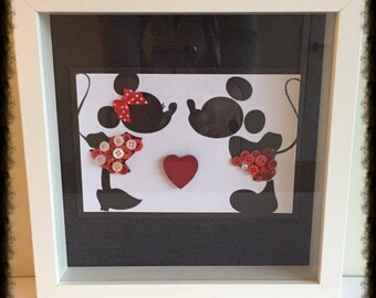 Personalised Wedding gift for Bride and Groom. Disney Mickey and Minnie mouse button art.