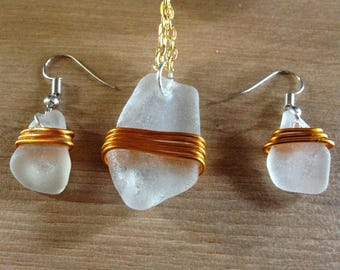Sea Glass earrings and pendant, Gold and Silver, with matching triple gold bands