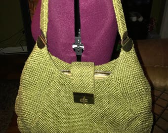 Vintage burlap handbag