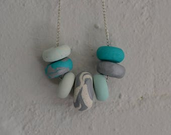 Polymer Clay Necklace Green 7 Bead