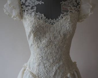 True Vintage T Length Priscilla of Boston Ivory Wedding Dress Size XS (1950s Style, 1970s Label)