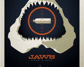Tom Whalen, Jaws, Spielberg, Signed, Limited Edition, Print, Art, Giclee,