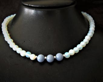 Necklace angelite and opalite