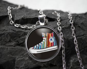 Converse Glass Pendant converse necklace converse jewelry converse gift photo pendant art pendant photo jewelry art jewelry glass jewelry
