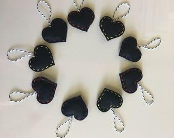 Black Heart Ornaments