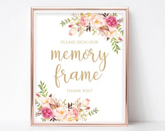 Memory Frame Sign Printable Please Sign Our Frame Sign Our Photo Frame Printable Sign PDF Instant Download DIY 8x10, 5x7, 4x6 Pastel Blooms
