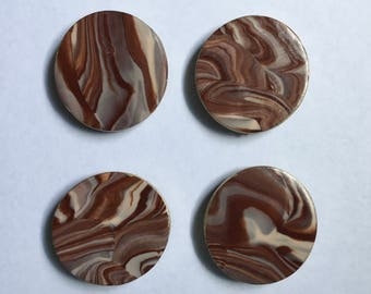SALE! Brown and Cream Marble Magnet Set - 4 pcs - Ready To Ship!