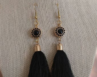 Black and Gold Plated Tassel Earrings