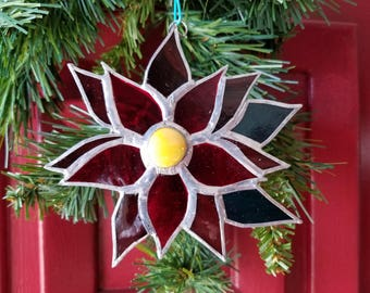 Christmas, Poinsettia, stained glass, ornament, Sun Catcher, flower,