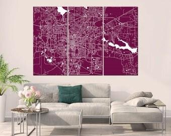 Tallahassee Florida, City Map, Canvas Print, Wall Art, Multi panel