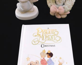 PRECIOUS MOMENTS Figurines + Christmas Book, Bundles of Joy & Surrounded with Joy