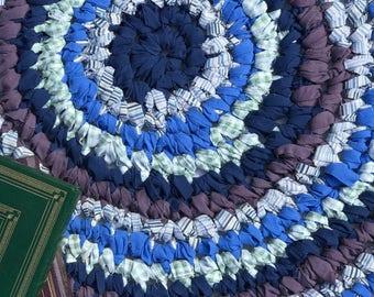 40 inch Blue Crocheted Round Rag Rug