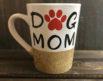 Glitter 'Dog Mom' Mug