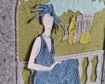 Handmade Art Deco Lady Greetings Card