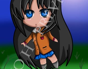 Chibi Girl Digital Drawing, Blue Eyes and Black Hair