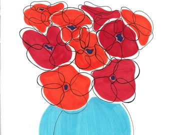 Abstract Red Poppy in Blue Vase