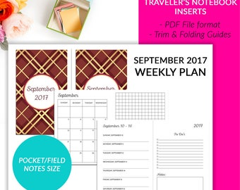 Pocket Field Notes Traveler's Notebook Insert - September 2017 Weekly Plan On 2 Pages Calendar  To Do List Printable
