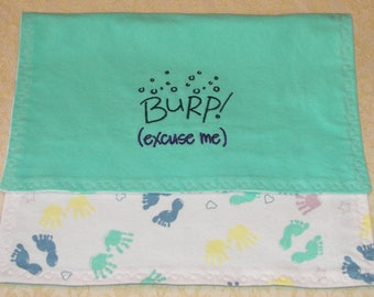 Baby Burp Cloth - Hands-and-Feet imprint with custom embroidery