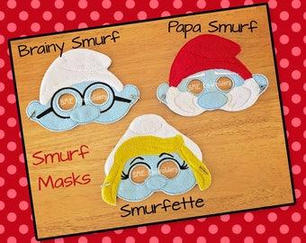 Smurf Inspired Felt Masks-Smurfette-Papa Smurf-Brainy Smurf Child's Dress Up Imaginary Play- Birthday Party Favor-Photo Shoot-Theme Party