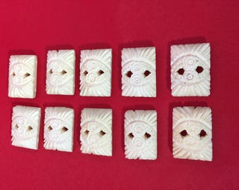 Hand Carved Vegetable Ivory Buttons/Beads