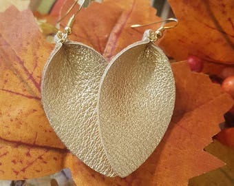Metallic Gold Leather Earrings. Genuine leather, handmade, lightweight, and chic!